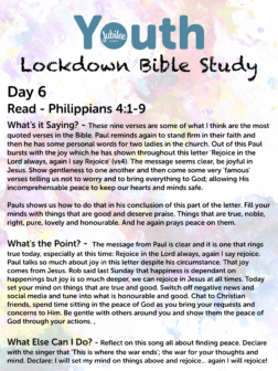 Youth Lockdown Bible Study Day 6